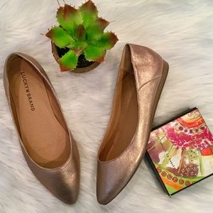 Lucky Brand Rose Gold Leather Flats, 6